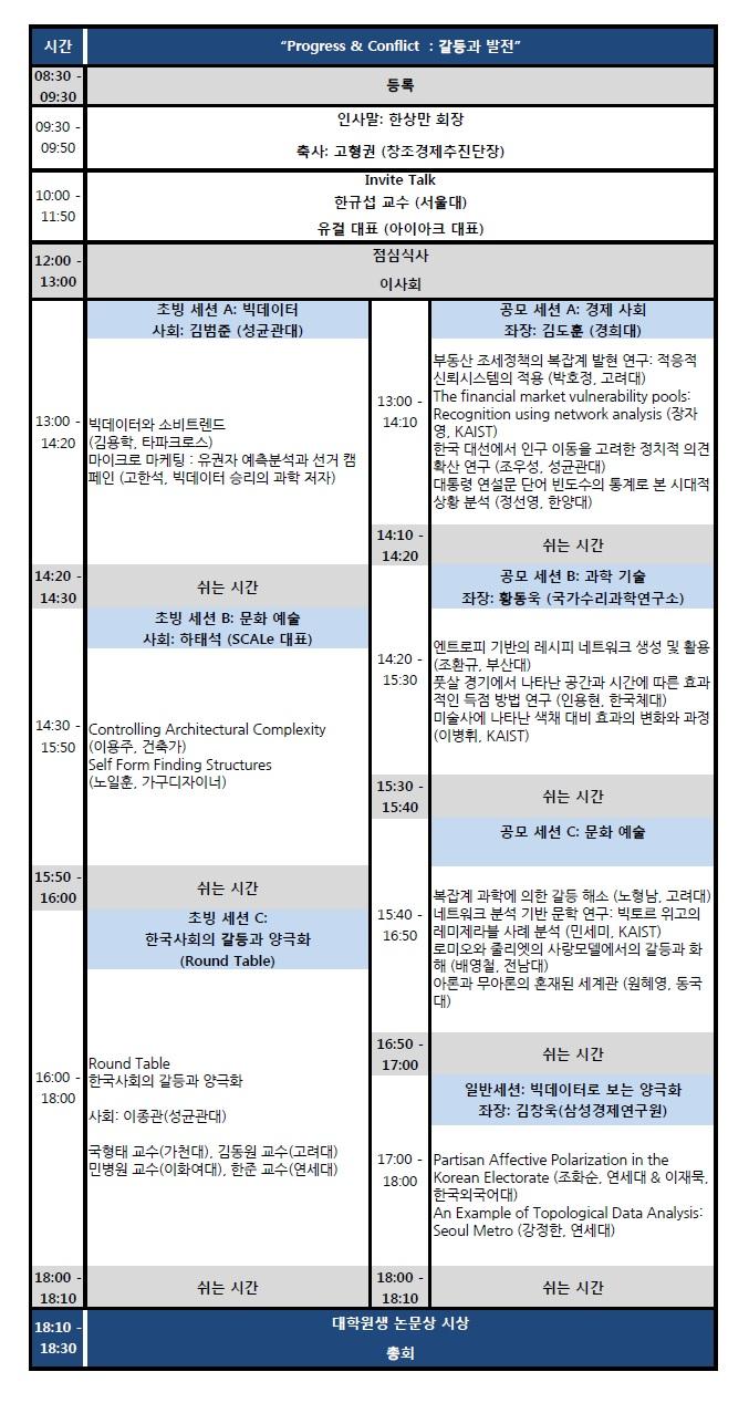 2015 한국복잡계학회 가을 학술대회 프로그램